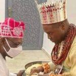 See Obasanjo Kneeling Before Olu Of Warri (Photo)